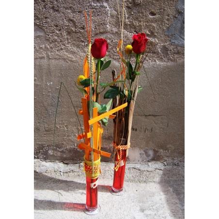 Rosa de Sant Jordi con Jarrón de cristal decorado