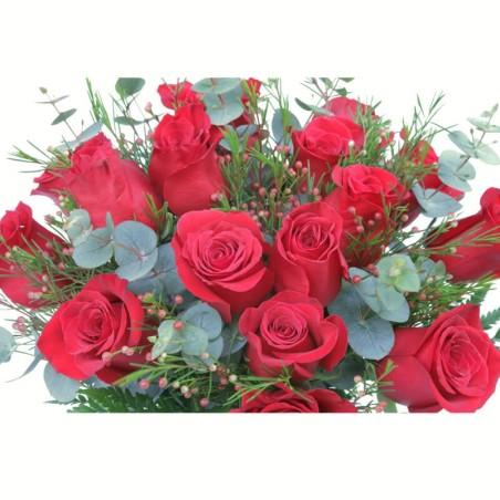 "12 roses vermelles tija extra ""Presente"""