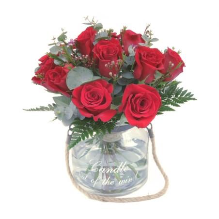 Bouquet de Rosas San Valentín en base de cristal