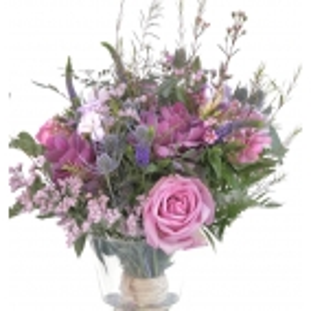 Ramo de flores Vintage en base de cristal