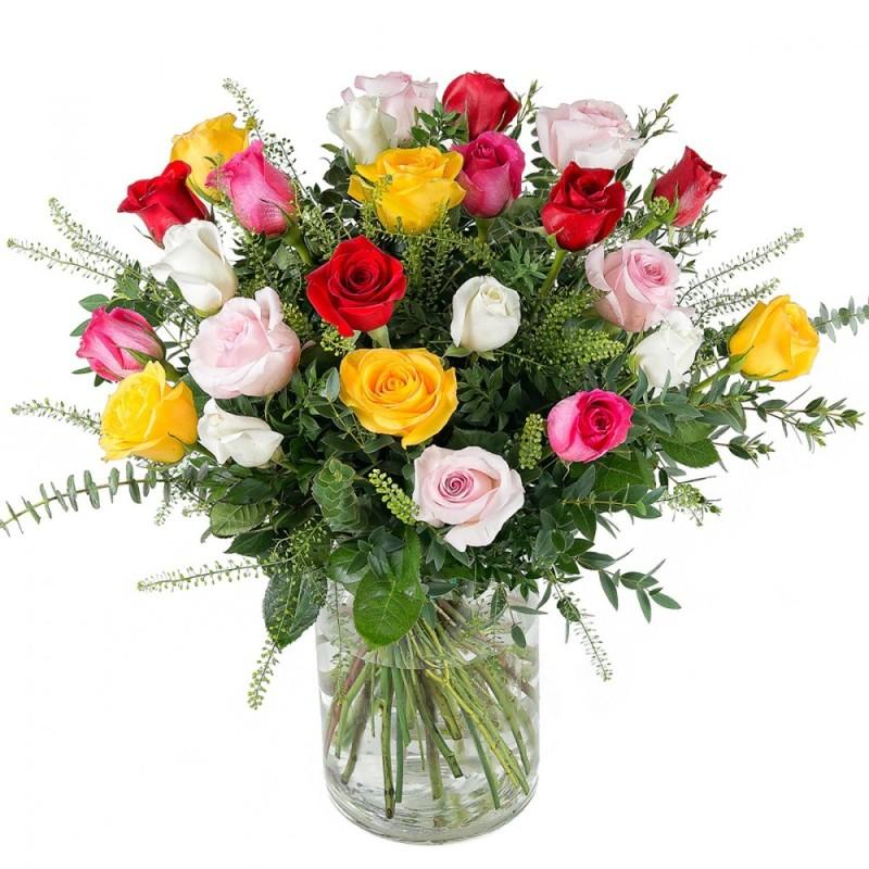 Ram 24 roses multicolor Cariño