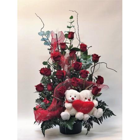 Centro de 18 rosas romántico