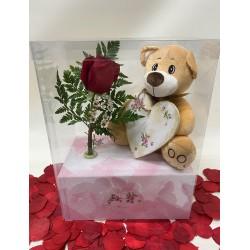 Caja romántica con rosa roja y oso de peluche