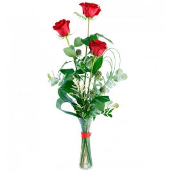 3 roses vermelles tija extra Tesoro